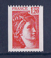 timbre France n° rouge  Sabine 1f20  rouge  1981Ba **