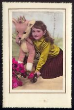 Vintage photo postcard: Girl with big stuffed Bambi. Animal Toy w/ wheels FRANCE