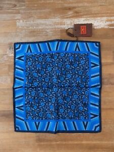 ETRO Milano reversible blue floral motif silk pocket square authentic - NWT