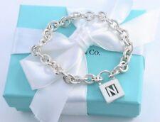 "Tiffany & Co Silver Letter N Pad Lock Love Charm 7"" Chain Bracelet w Packaging"