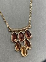 Vintage Gold Tone Smoky Topaz Rhinestone pendant Statement  Necklace 16""