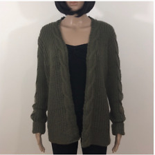 New Derek Heart Women's Chunky Cable Knit Cardigan Sweater Army Green Small