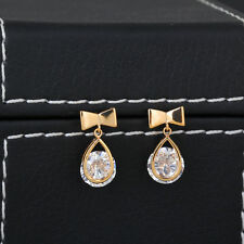 Womens 14K Yellow Gold Filled White CZ Round Bowknot Stud Earrings Cute Korean