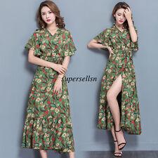 Korean Womens Summer Chiffon Evening Party Cocktail V Neck Slim Tunic Long Dress
