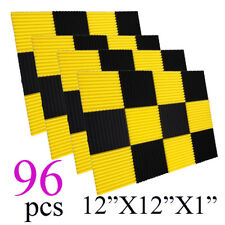 96Pcs1x12x12black/yellow Acoustic Panels Studio Soundproofing Foam Wedge tiles
