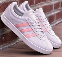 Adidas VL Court 2.0 - New Women's Shoes F35127 Raw White Pink Lifestyle