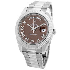 ROLEX 41mm 18K White Gold Day Date II President Chocolate Dial 218239 Warranty