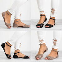 Women's Ankle Strap Flats Shoes Espadrilles Buckle Summer Platform Sandals Shoes