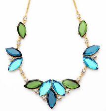 SAPPHIRE BLUE EMERALD GREEN Chunky Crystal Rhinestone Flower Statement Necklace