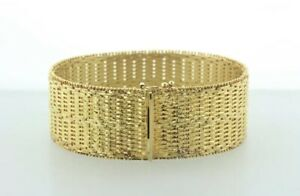 Veronese Italy 925 Sterling Silver Gold Vermeil Woven Texture Wide Bracelet