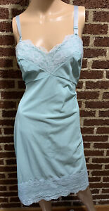 Vintage Teal Full slip nylon lace pinup size 40