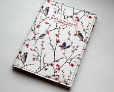 100% Quality leather Passport Case - Holder - Red Flowers and Birds