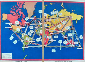 """Original 1930's """"The Air Race Game"""" World Map"""