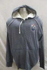 Edmonton Oilers Men's Large Full-Zip Hoodie NHL Blue Tri-Blend A12M