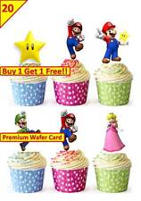 40 SUPER MARIO Birthday Party Cup Cake Fairy Edible Wafer Rice Toppers STAND UP