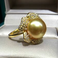 10-11 mm  round  natural  gold   south sea  pearl  ring