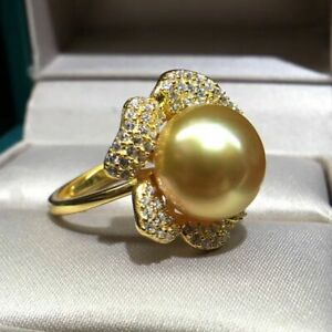 elegant  10-11 mm  round  natural  south sea    gold  pearl  ring