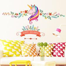 Unicorn Flower Branch Happy Holidays DIY Girls Bedroom Wall Sticker Decor Art