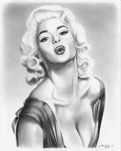 Jayne Mansfield Blowing Kiss 8x10 Original Graphite Drawing Vintage Hollywood