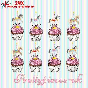 Carousel Horses 24 Stand-Up Wafer Paper Cup Cake Toppers