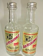 Vintage Old Fitzgerald Bourbon Mini Liquor Bottle Glass Salt & Pepper Shakers