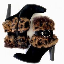 Stuart Weitzman 9.5 Black Suede Ankle Boots Leopard Faux Fur Lined Buckle Trim