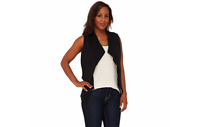 Lisa Rinna Collection Open Front Tiered Vest with Pockets Black L A265401 QVC J