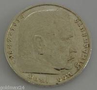 Drittes Reich 5 Reichsmark Silbermünze 1935 G - Hindenburg