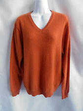 100% Cashmere Sweater Size L Orange Boyfriend Jumper VNeck Uniqlo 50 Chest Tunic