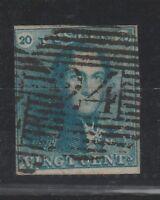 FRANCOBOLLI - 1849 BELGIO C. 20 AZZURRO LEOPOLDO I Z/9289