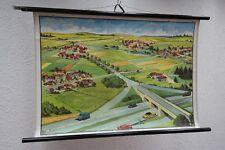 Vecchio grande Lavagna didattica Strade e Tipi di villaggio,Cartina da parete,