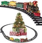 Christmas Train Set Around The Christmas Tree with Real Smoke Music Lights