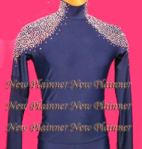 M398 hot sale Men L size Latin dance shirt crystals blue banded collarless new
