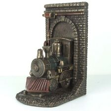 """Steampunk Locomotive Out of Tunnel Bookend Bronze Figurine Miniature 7.75""""H New"""