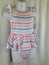 BNWT Baby Girl 000 Mix Brand Pretty White & Stripes Smocking Dress & Pants Set