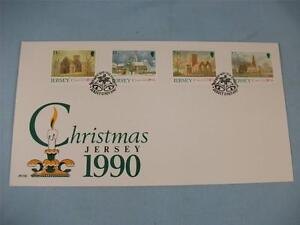First Day Issue Stamp Cover Jersey Christmas 1990, 4 stamps JPO/FDC