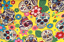 0.5 metre Sugar Skulls - Yellow 100% Cotton Fabric 112cm wide