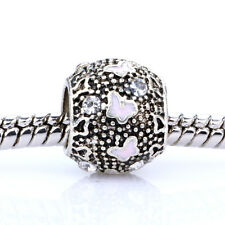 925 Silver Butterfly Clear CZ Pink Spacer Charm Bead Fit Bracelet Necklace