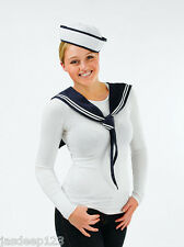 Sailor Kit Hat and Scarf Womens Ladies Fancy Dress Sexy Navy Instant Outfit Hen