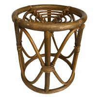 """Bamboo Rattan Plant Stand Vintage Mid Century 13"""" Wicker"""