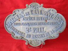 ANCIENNE PLAQUE AGRICOLE CONCOURS DE CHAUMONT 1865 / PRIX VACHE BOVIN TAUREAU