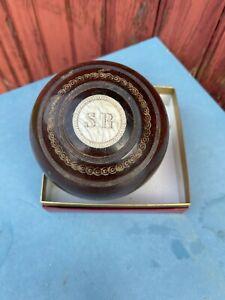 ANCIENNE BOULE EN BOIS 1962 POUR JEUX BOULINGRIN JEU DE LAWN BOLE BOWLING LONDON