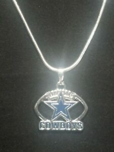 Dallas Cowboys Necklace Pendant NFL Football Sterling Silver Chain NFL Football