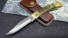 Proto USA Stanley Folding Blade Pocket Knife FS Hardwood Handle + Leather Sheath