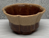 HAEGER #156 Art Pottery Ribbed Scalloped Planter Bowl USA Brown Tan