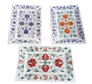 Set of 3 Marble White Serving Tray Plate Lapis Hakik Work Inlay Marquetry Decor