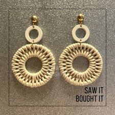 NEW Wood cord earring, color beige