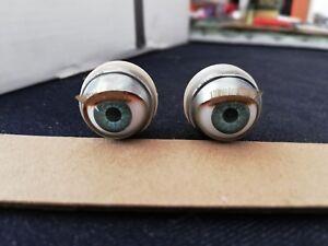 pair of blue glass eyes age 1950 rare vintage unused 20mm