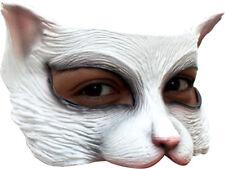 White Kitty Cat Mask Latex Animal Feline Half Face Cats Adult Fun Halloween New