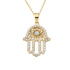 Solid Gold Chic Opal Hamsa Pendant Necklace (Yellow White Rose)